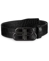 Balenciaga Large Bb Leather Belt - Black