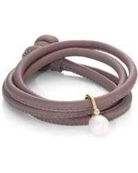 Mizuki - Diamond, 12mm White Oval Pearl, 14k Yellow Gold & Leather Wrap Bracelet - Lyst