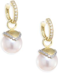Jude Frances - Provence Diamond & 10mm White Pearl Earring Charms - Lyst