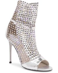 Rene Caovilla - Crystal Mesh Ayers Snake Leather Open-toe Ankle Boots - Lyst