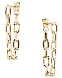 Zoe Chicco Heavy Metal 14k Yellow Gold Medium Oval Link Hoop Earrings - Metallic