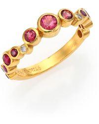 Gurhan - Pointelle Diamond, Multi-stone & 24k Yellow Gold Ring - Lyst