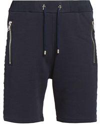 Balmain Embossed Sweatshorts - Blue