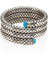 John Hardy - Dot Turquoise, 18k Yellow Gold & Sterling Silver Triple Coil Bracelet - Lyst