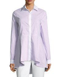 St. John - Pinstripe Hi-lo Shirt - Lyst