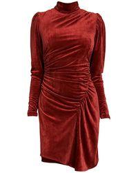 A.L.C. Marcel Draped Velvet Dress - Red