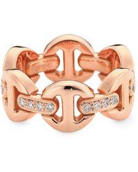 Hoorsenbuhs Heritage Dame Classic Tri-link 18k Rose Gold & White Diamond Ring - Multicolor