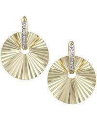 Phillips House Aura 14k Yellow Gold & Diamond Offset Huggie Hoop Earrings - Metallic