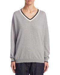 Brunello Cucinelli | Striped Trim Cashmere Sweater | Lyst
