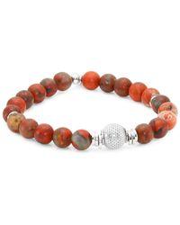 Tateossian Stonehenge Rainbow Jasper Mesh Beads And Sterling Silver Bracelet - Red