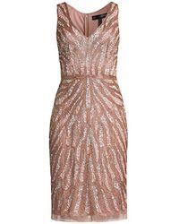 Aidan Mattox Sequin Beaded Cocktail Dress - Pink