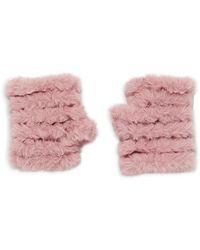 Jocelyn Knitted Faux Fur Mandy Mittens - Pink