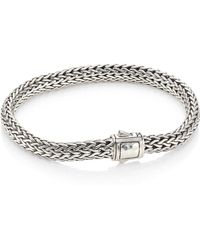 John Hardy - Classic Chain Small Hammered Station Sterling Silver Bracelet - Lyst