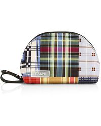 Ganni Geometric Plaid Toiletry Bag - Multicolor
