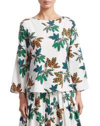 Akris Punto - Tropical Print Cotton Blouse - Lyst