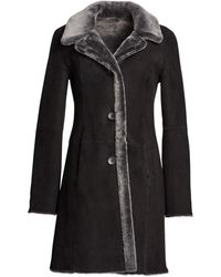 Saks Fifth Avenue Lamb Shearling Reversible Coat - Gray