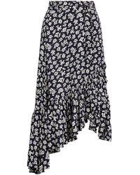 Polo Ralph Lauren Floral Asymmetric Flounce Maxi Skirt - Black