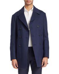 Armani - Tailored Wool Peacoat - Lyst