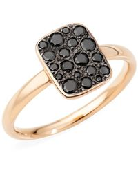 Pomellato - Sabbia Small 18k Rose Gold & Black Diamondrectangular Ring - Lyst