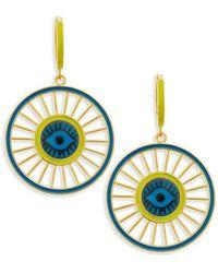 Ileana Makri Be Happy 18k Goldplated & Yellow Pav Spinning Eye Drop Hoop Earrings - Metallic