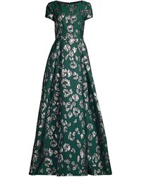 Jason Wu Collection Satin Jacquard Cocktail Gown - Green
