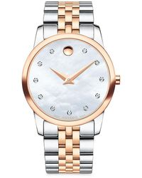 Movado Museum Classic Diamond, Mother-of-pearl, Rose Gold & Stainless Steel Link Bracelet Watch - Metallic