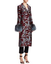Cinq À Sept - Embroidered Jacquard Fur-trim Coat - Lyst