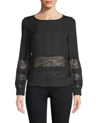 L'Agence - Petra Lace Panel Blouse - Lyst
