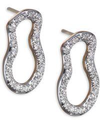Monica Vinader - Diamond & 18k Gold Riva Pod Stud Earrings - Lyst