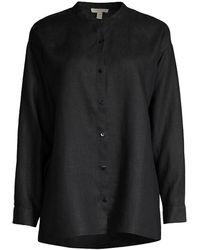Eileen Fisher Mandarin Collar Organic Linen Shirt - Black