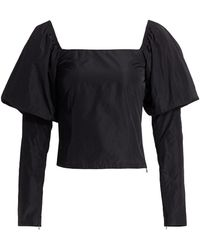 ANDAMANE Elsa Puff-sleeve Taffeta Top - Black