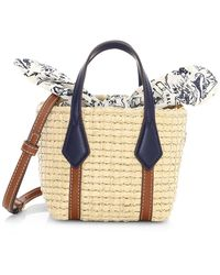 Tory Burch Nano Perry Straw Tote - Blue