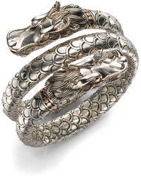 John Hardy - Naga 18k Yellow Gold & Sterling Silver Dragon Head Double Coil Bracelet - Lyst