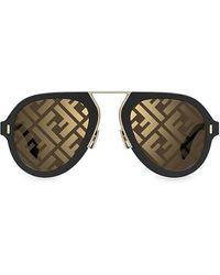 Fendi 53mm Aviator Logo Sunglasses - Brown