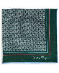 Ferragamo Gancini Silk Pocket Square - Green