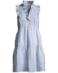 Vineyard Vines Shine Stripe Ruffle Linen Dress - Blue
