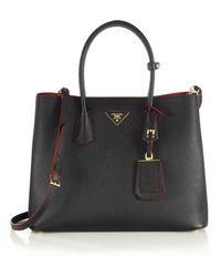 Prada - Saffiano Cuir Large Double Bag - Lyst