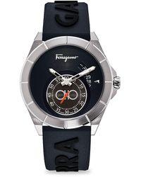 Ferragamo Ferragamo Urban Chronograph Embossed Rubber Strap Watch - Metallic