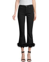 7 For All Mankind - Faux-feather Trim Cropped Jeans - Lyst
