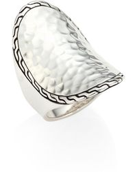 John Hardy - Classic Chain Hammered Sterling Silver Oval Ring - Lyst