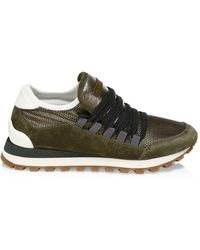 Brunello Cucinelli - Washed Suede & Techno Net Runners - Lyst
