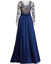 Pamella Roland Satin Gown With Metallic Flower Embroidered Bodice - Blue