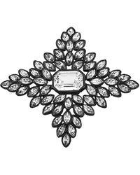 Kenneth Jay Lane Black Line Crystal Cruciform Brooch