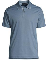 Theory Casual Cotton Polo - Blue