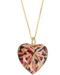 Silvia Furmanovich Marquetry 18k Yellow Gold, Diamond & Wood Geometric Large Heart Pendant Necklace - Metallic