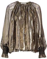10 Crosby Derek Lam Helena Lamé Silk-metallic Puff-sleeve Blouse - Multicolor