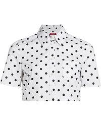 STAUD Polka-dot Cotton-blend Cropped Blouse - White