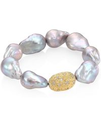 Jordan Alexander - 15mm Baroque Freshwater Pearl, Diamond & 18k Yellow Gold Beaded Stretch Bracelet - Lyst