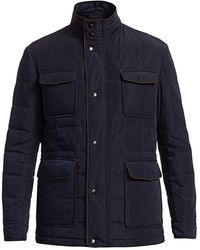 Saks Fifth Avenue Collection Quilted Car Coat - Blue