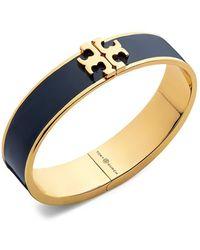 Tory Burch Kira Logo Enamel Hinged Cuff Bracelet - Blue